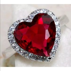 Jewelry - Ruby 3CT & White Topaz Ring